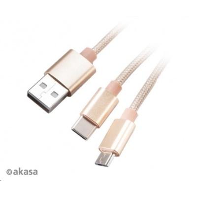 AKASA kabel 2v1 USB Type-A na Micro-B a USB Type-C, 120cm, zlatý