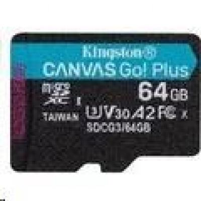 Kingston 64GB microSDXC Canvas Go Plus 170R A2 U3 V30 Single Pack bez ADP
