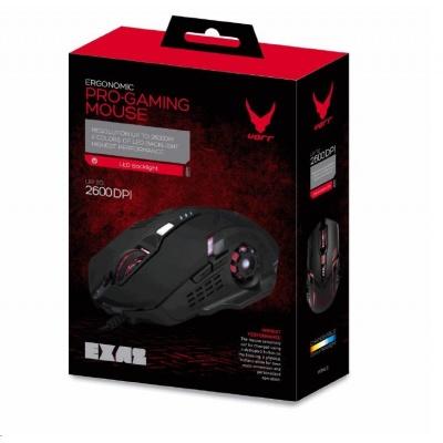 PLATINET herní myš VARR Gaming Mouse LED, 800-1200-1600-2600 DPI, USB, black/černá