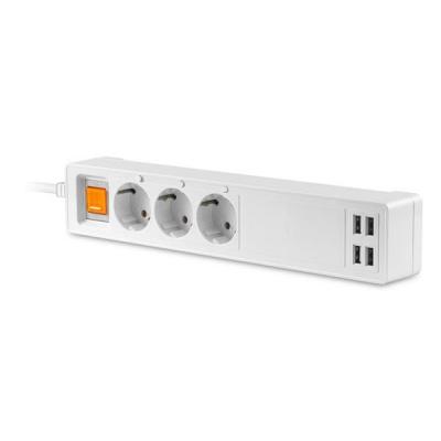 PLATINET chytrá zásuvková lišta, kabel 1.8m, Uni-schuko typ 16A, 4xUSB-A/5A TUYA aplikace